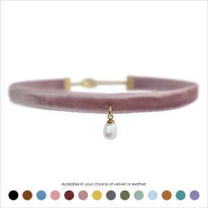 Pearl Choker, White Pearl & Gold - Velvet or Leather