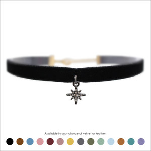 North Star Choker, Crystal Pave & Hematite - Velvet or Leather