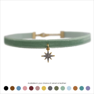 North Star Choker, Crystal Pave & Gold - Velvet or Leather
