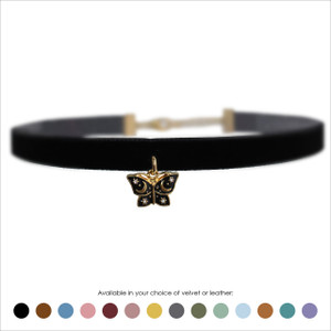 Mystical Butterfly Choker, Black & Gold - Velvet or Leather