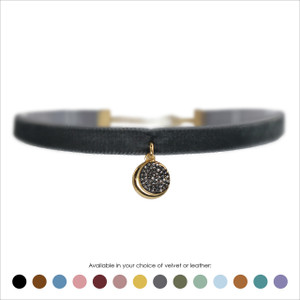 Crescent Moon Disc Choker, Pave Crystal & Gold - Velvet or Leather