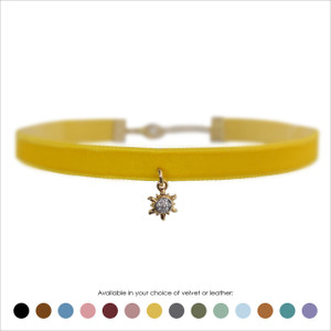 Sun Choker, Pave Crystal & Gold - Velvet or Leather