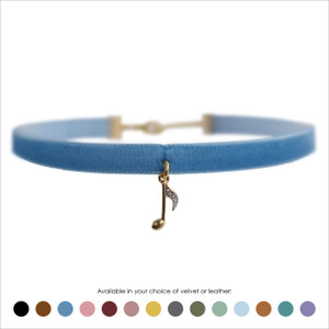 Music Note Choker, Pave Crystal & Gold - Velvet or Leather