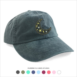 Crescent Moon Embroidered Baseball Hat - Choose your hat color!