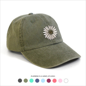 Daisy Embroidered Baseball Hat - Choose your hat color!