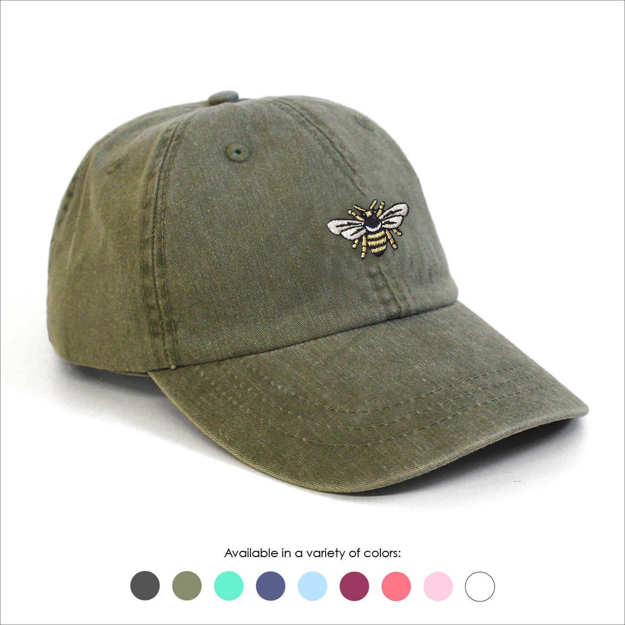 Bee Baseball Hat - Choose your hat color! - Wildflower + Co. b84c994894a