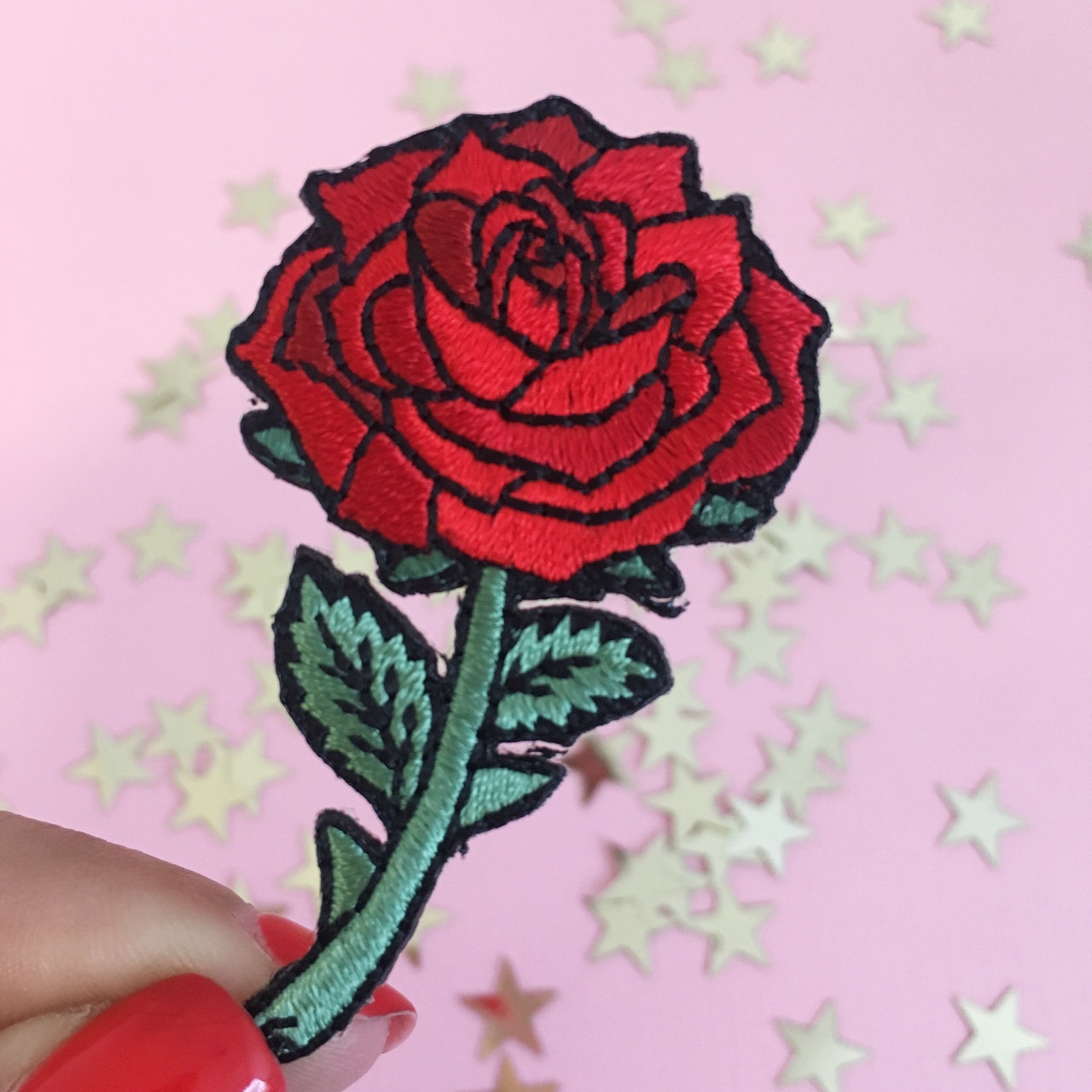Patches Red Rose Flower W Stem Embroidery Patch Podh Com Br