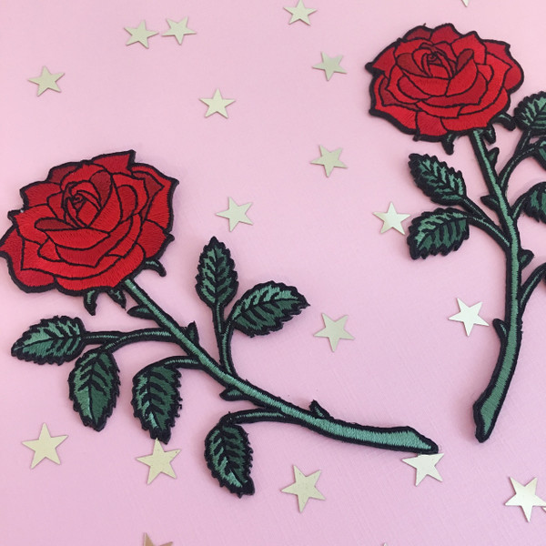 Red Rose Patch Patches Long Stem Set 2 Mirror Image - Wildflower + Co.