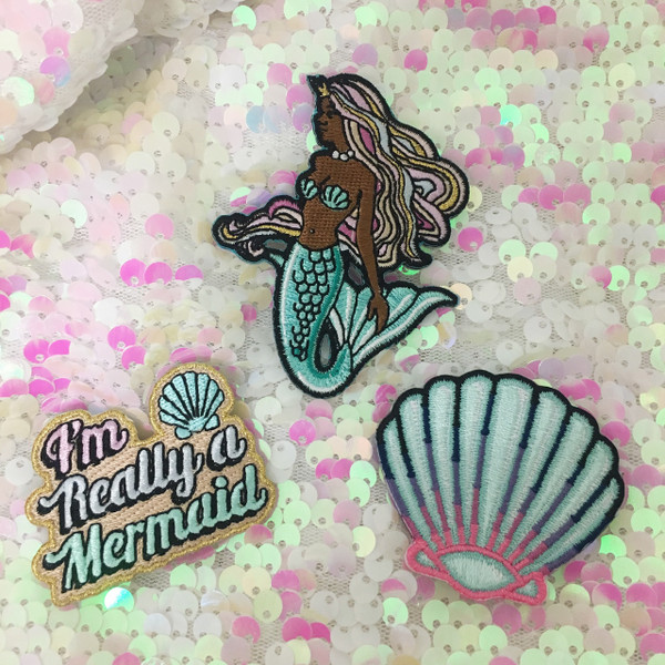 Black Mermaid Patch - Embroidered Iron On - Wildflower + Co.