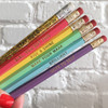 Motivational Fancy Pencil Pack - Holographic - Stay Gold - Girl You Got This - Rise & Shine - Note to Self - Brilliant - Make your Mark - Wildflower + Co. (2)