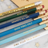 Good Vibes Only Fancy Pencil Pack - Holographic - Trust the Universe - Stay Wild - Namaste all Day - Free Spirit - Find your True North - Wildflower + Co - Pkg