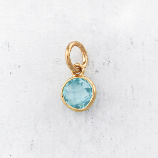 JW00206 march birthstone pendant charm synthetic aquamarine gemstone gold - DIY March Birthstone Jewelry - Necklace - Bracelet