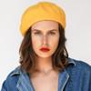 Beret - Yellow Wool - Model - Wildflower Co Jewelry (1)
