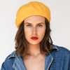 Beret - Yellow Wool - Model - Wildflower Co Jewelry (1)