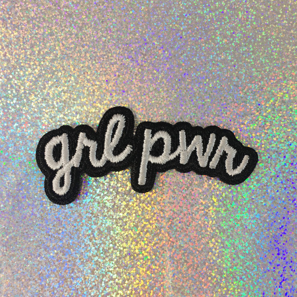 GRL PWR - Embroidered Iron On Patch Patches Appliques - Black & White - Word Quote - Wildflower Co SCALE