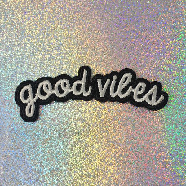 Good Vibes - Embroidered Iron On Patch Patches Appliques - Black & White - Word Quote - Wildflower Co SCALE