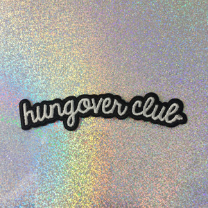 Hungover Club- Embroidered Iron On Patch Patches Appliques - Black & White - Word Quote - Wildflower Co - SCALE.jpg