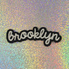 Brooklyn - Embroidered Iron On Patch Patches Appliques - Black & White - Word Quote - Wildflower Co. SCALE