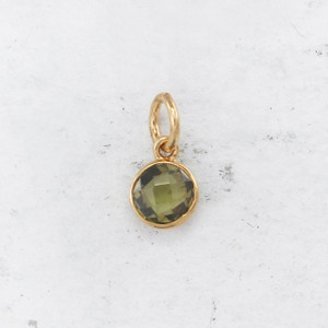 JW00206 Birthstone Peridot Light Green - August - Charm Pendant - Wildflower.Co - Main