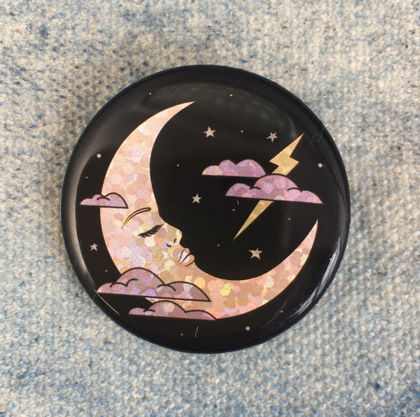 Lady in the Moon - Mood Goddess Holographic Button Pin Flair - Wildflower Co