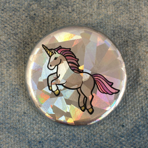 Unicorn Holographic Button Pin Flair - Wildflower Co