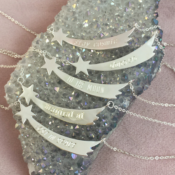 Shooting Star Nameplate Necklace - Personalize - Engrave - Custom - Gold Sterling Silver - Wildflower Co Jewelry