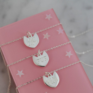 Cat Charm Necklace - Sterling Silver - Personalized - Custom - Engraved - Dainty - Tiny - Wildflower + Co. Jewelry