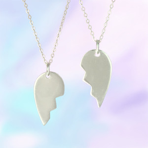 Split Heart Necklace, Sterling Silver or Gold Dipped - Personalize It!