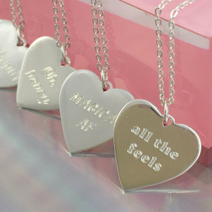 Personalized Heart Necklace - Gold Sterling Silver - Engraved - Custom - Wildflower Co. Babe - Solo