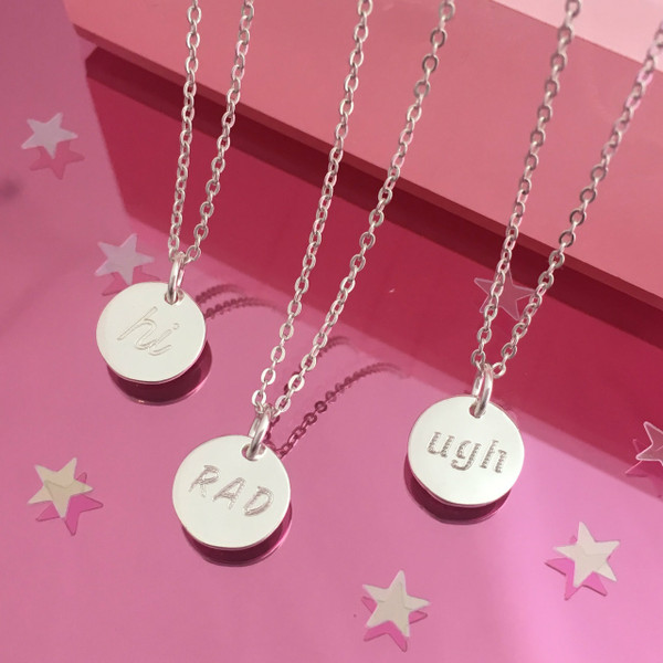 Tiny Disc Necklace - Dainty Gold Silver Medallion - Personalized - Custom - Engrave - Wildflower Co