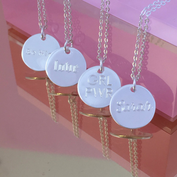 Small Disc Necklace - Medallion - Dainty Gold Sterling Silver - Personalized - Engraved - Custom - Wildflower + Co