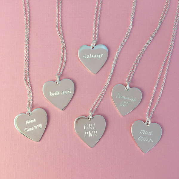 Feminist Heart Charm Necklace - Personalized - Engrave - Custom - Sterling Silver Gold - GRL PWR Bad Bitch Not Sorry Savage - Wildflower Co