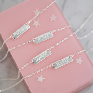 Feminist Tiny Bar Necklace - Dainty Gold - Silver - Personalized Custom Engrave - Wildflower Co
