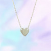 Tiny Heart Necklace Nameplate - Dainty Gold Sterling Silver - Initials - Personalized Custom Engrave - Cute - Wildflower C