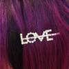 LOVE CRYSTAL BOBBY PIN - BRIDAL BRIDE HAIR ACCESSORY CLIP - RHINESTONE DIAMOND SILVER - WEDDING BRIDAL SHOWER BACHELORETTE PARTY REHEARSAL DINNER - WILDFLOWER + CO. (2)