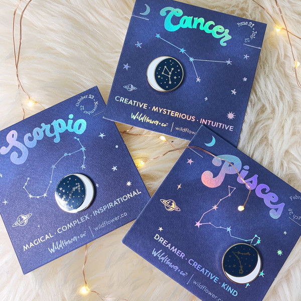 Zodiac Enamel Pin - CANCER SCORPIO PISCES - GROUP SHOT - Flair - Astrology Gift - Birthday - Constellation Star & Moon - Gold - Wildflower + Co. Accessories (3)