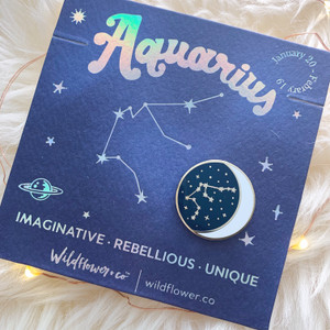 Zodiac Enamel Pin - AQUARIUS - Flair - Astrology Gift - Birthday - Constellation Star & Moon - Gold - Wildflower + Co. Accessories (3)