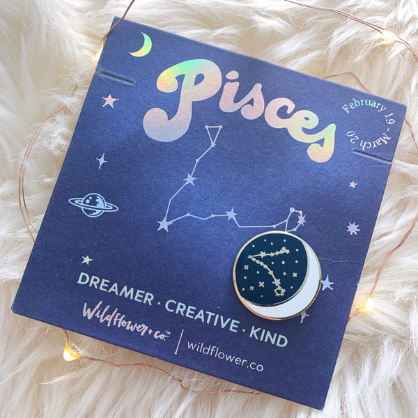 Zodiac Enamel Pin - PISCES - Flair - Astrology Gift - Birthday - Constellation Star & Moon - Gold - Wildflower + Co. Accessories (2)