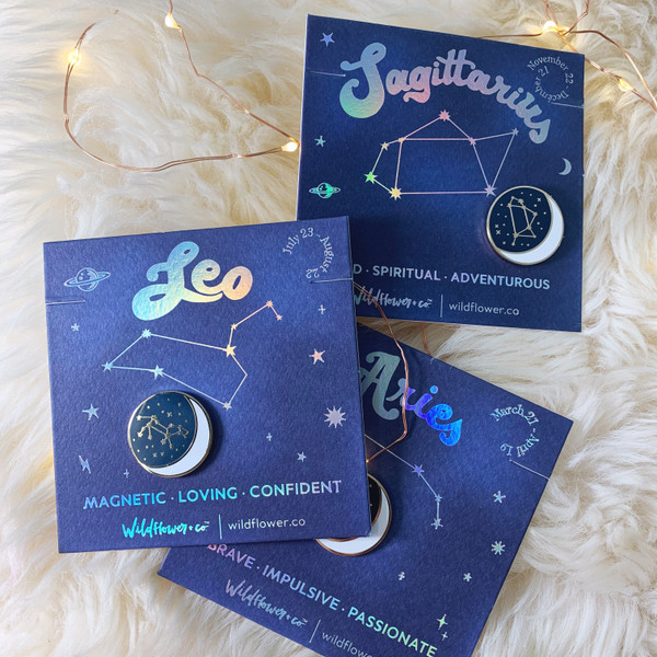 Zodiac Enamel Pin - SAGITTARIUS LEO ARIES - GROUP SHOT - Flair - Astrology Gift - Birthday - Constellation Star & Moon - Gold - Wildflower + Co. Accessories (3)