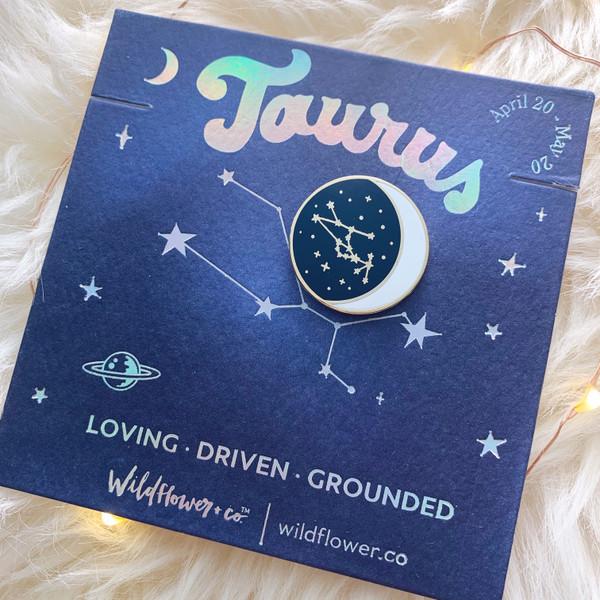 Zodiac Enamel Pin - TAURUS - Flair - Astrology Gift - Birthday - Constellation Star & Moon - Gold - Wildflower + Co. Accessories