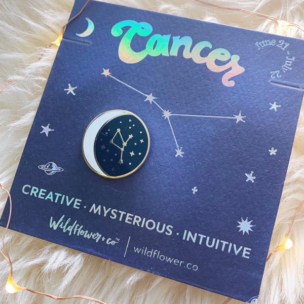 Zodiac Enamel Pin - CANCER - Flair - Astrology Gift - Birthday - Constellation Star & Moon - Gold - Wildflower + Co. Accessories (2)