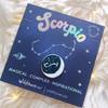 Zodiac Enamel Pin - SCORPIO - Flair - Astrology Gift - Birthday - Constellation Star & Moon - Gold - Wildflower + Co. Accessories (2)