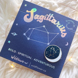 Zodiac Enamel Pin - SAGITTARIUS - Flair - Astrology Gift - Birthday - Constellation Star & Moon - Gold - Wildflower + Co. Accessories