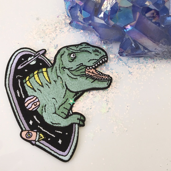 T-Rex Dinosaur Embroidered Patch - Black Hole - Outer Space - Iron On Patches Flair - Wildflower + Co (6)