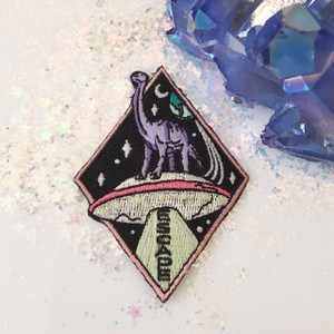 Brontosaurus Dinosaur Escape UFO Space - Embroidered Patch Iron On Patches Flair - Wildflower + Co (1)