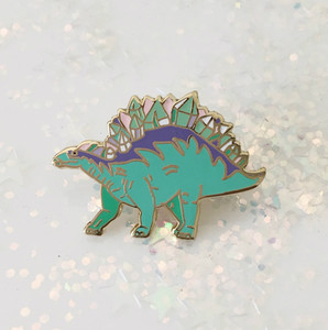 Crystal Stegosaurus Dinosaur Enamel Pin - Flair - Wildflower Co