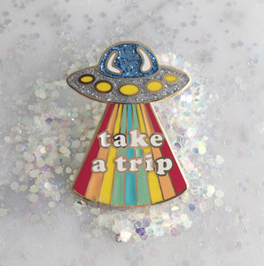 Take a Trip Enamel Pin Wildflower + Co. - UFO Alien Rainbow Trippy