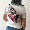 Custom Message Fanny Pack - Bum Bag - Personalized - Denim Black Checkerboard Pink - Wildflower Co