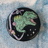 T-Rex Dinosaur in Space - Black Hole Button Pin Holographic Flair - Wildflower Co