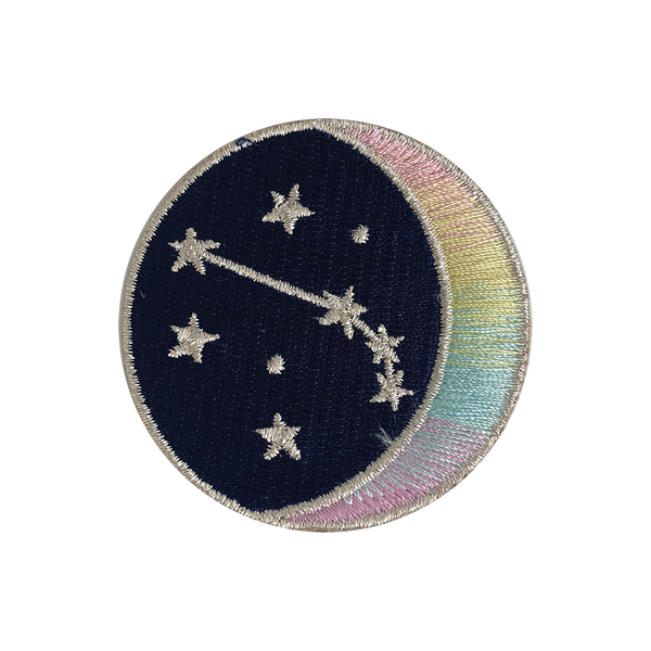 ARIES Zodiac Patch - Star Sign Constellation - Crescent Moon - Embroidered Iron On Patch Patches for Jacket Jackets Flair - Night Sky Pastel Ombre - Wildflower Co DIY